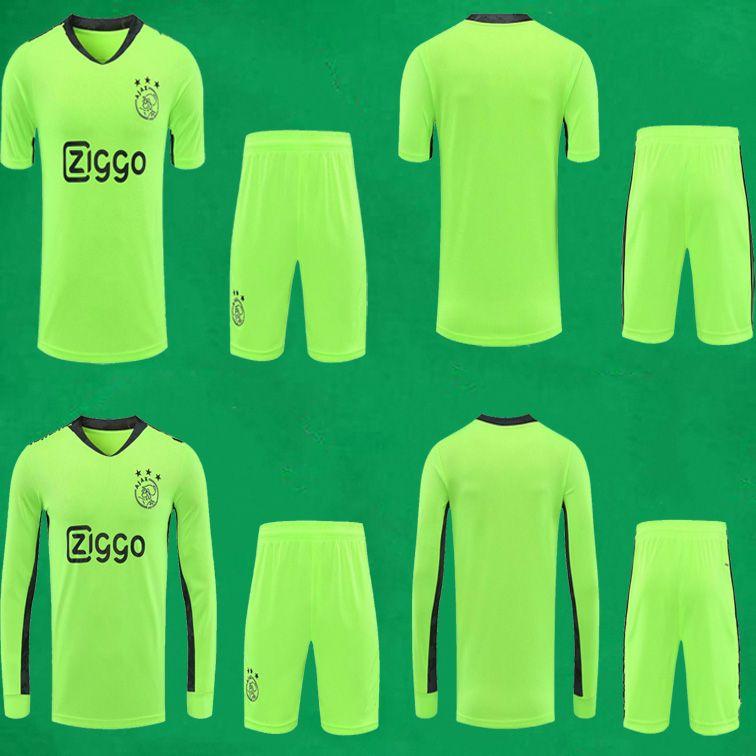 20 21 Ajax Football Maillots Shorts Gardien de but à manches courtes Kits de football Top Thai qualité 2020 2021 AJAX Gardien de but à manches longues Chemises Pantalon de football