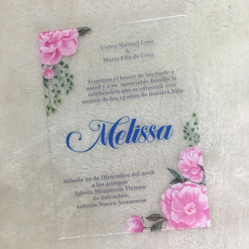 Bonita tarjeta de invitación de boda de lujo colorido impresión de la flor tarjeta de saludo invitaciones acrílico con la caja