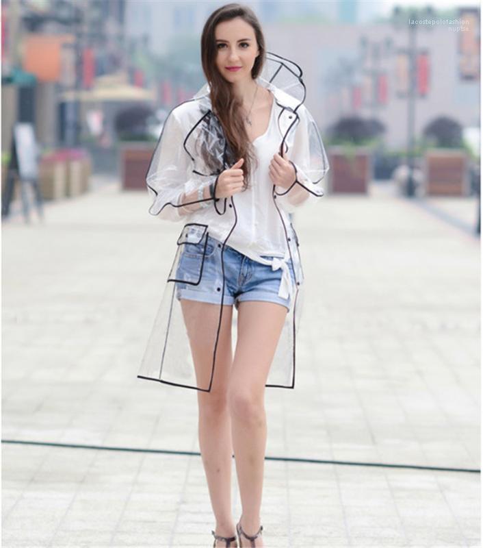 لباس المرأة مصمم المطر سترة أزياء ملونة الأنابيب شفاف حماية معطف واق من المطر Pedestrianism Rainning الوقت إمرأة عادية