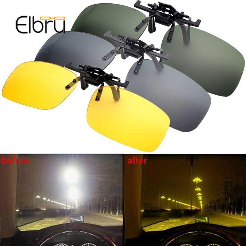 Elbru Car Driver Goggles Anti-UVA Polarized Sun Glasses Driving Night Vision Lens Clip On Sunglasses Interior Accessories