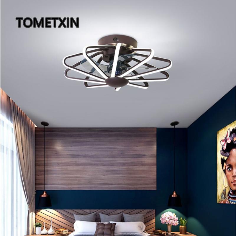 Потолочный вентилятор лампа Вентилятор Свет Спальня Гостиная Лампы светодиодные Интегрированное Вентиляторы AC220V Pure Copper Двигатель с дистанционным Contorl