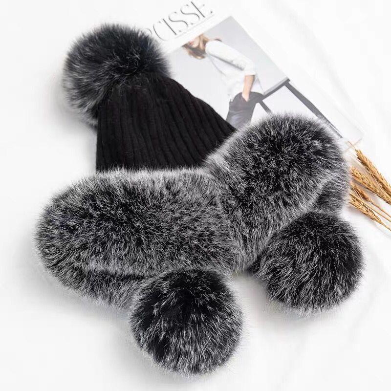 CX-C-247A Kadınlar Kış Gerçek Kürk Pom Poms Hat ile Kürk Trim% 100 Yün Örgü Şapka Isınma