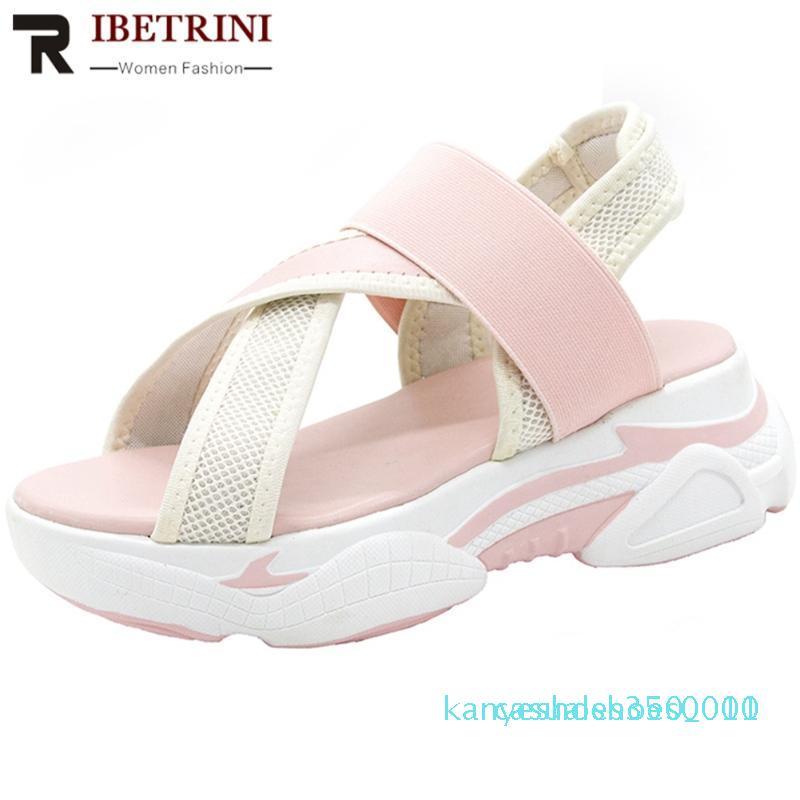 RIBETRINI Nouveau Casual Femmes Marque Plateforme Chaussures Femmes d'été frais Compensées Sandales 2020 slip-on été Sandalslll k10