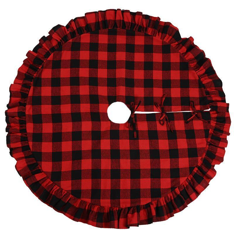 Christmas Christmas Tree Double Red Plaid Home Hotel For Layers Buffalo For Skirt Decor Tree Skirt 48inch Xmas yh_pack ZXcNG