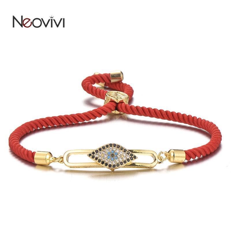 Neovivi Rosso Nero corda regolabile dei braccialetti delle donne micro pavimenta Cubic Zirconia può muoversi fascino dell'occhio Bracciale Pulseras Hombre
