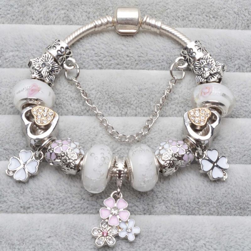 Kirschblüten-Anhänger Charm-Armbänder mit weißer Liebes-Herz-Kristall-Korn Marke Armband-Armbänder für Frauen Fashion Jewelry