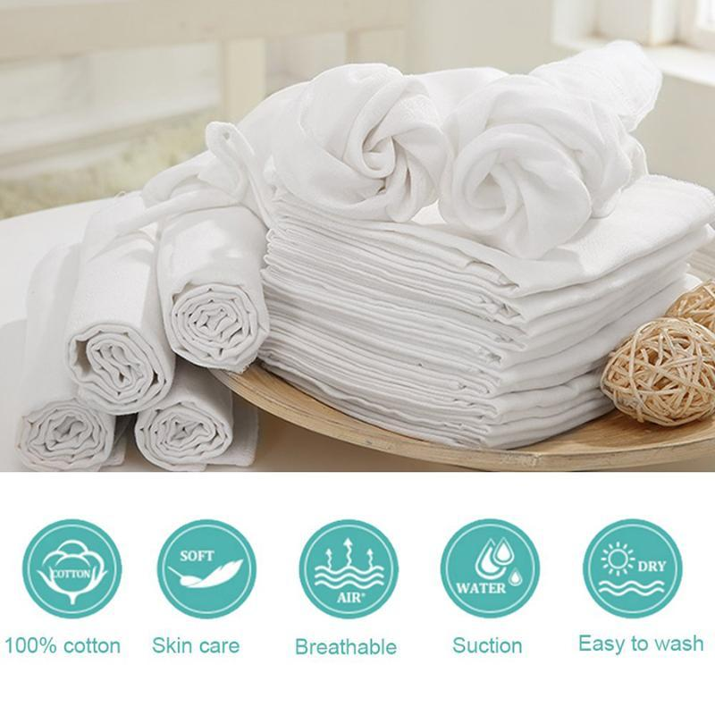 Newborn Reusable Baby Muslin Diapers Burp Cloth squares Soft Gauze Pure Cotton ecological Nappy Washable Blanket Towels
