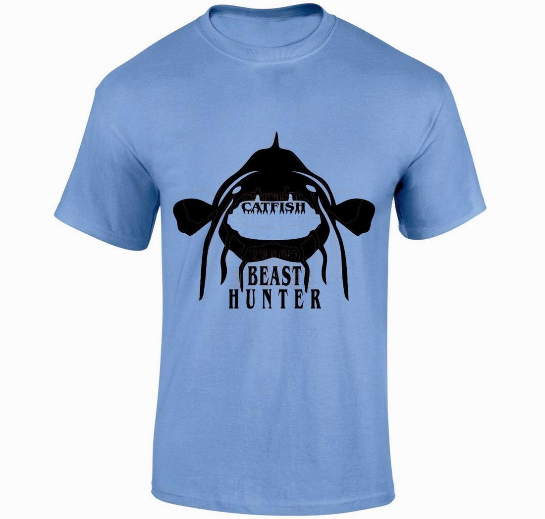 Сома BEAST HUNTER Tshirt Карп Окунь Bass Fishing Angling снасть Малый XXL Slim Fit Plus Размер футболки