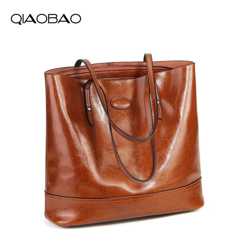 Qiaobao Tote Leder Designer Casual Echte High Bags Taschen Damen Handtaschen Qualität Weibliche Leder Schulter Echte Crossbody Bag Fejlj