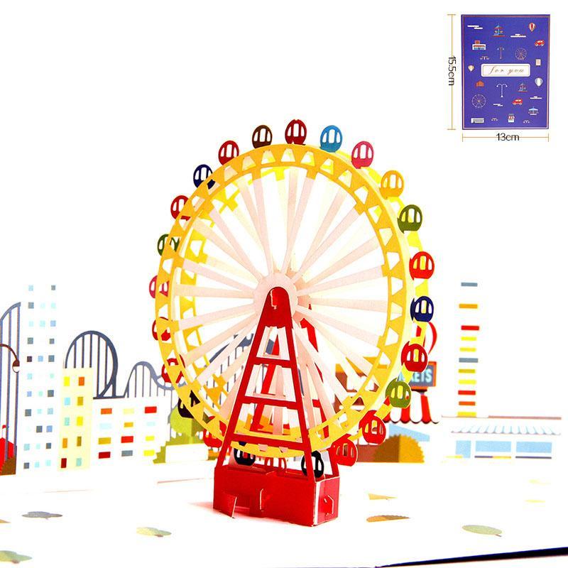 3D-Laser-Schnitt-Karte handgemachter bunter Druck Riesenrad Papier Festival Segen Grußkarte Kindergeburtstag-Party-kreatives Geschenk