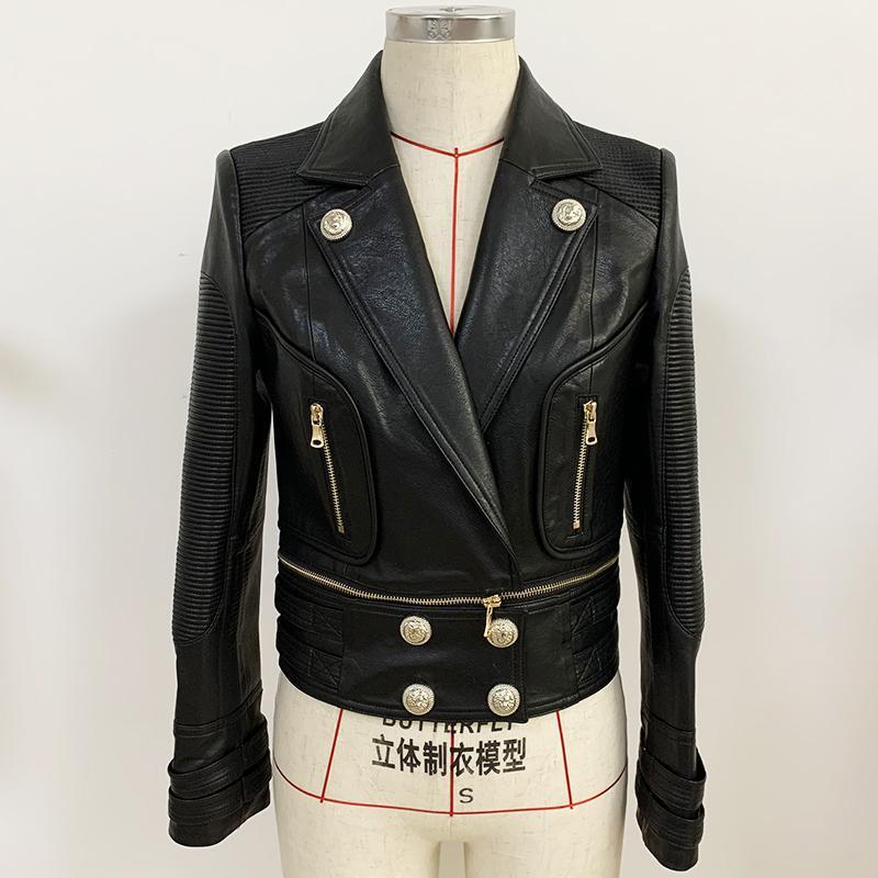 Yüksek Sokak Yeni Moda 2020 Tasarımcı Ceket kadın Alt Kenar Ayrılabilir Aslan Düğmeleri Sentetik Deri Motosiklet Ceket