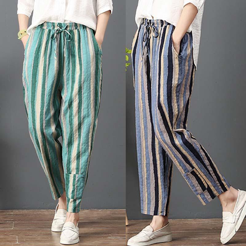 Kadın Pantolon Capris Zanzea 2021 Keten Pantolon Moda Renk Şerit Vintage Elastik Bel Uzun Şalgam Nedensel Artı Boyutu Palazzo Mujer