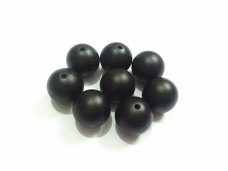 (Scegliere la taglia prima) 10mm / 12mm / 16mm / 20mm Beads nero opaco acrilico Pearl