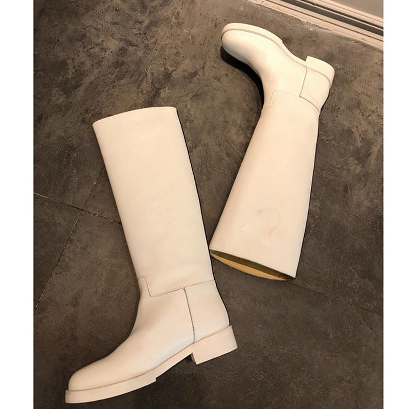 las mujeres libres del envío largo de la marca botas originales de las botas de cuero de diseño de moda señoras de la calidad zapatos de las mujeres del invierno 2019 Knight bota de tacón bajo,