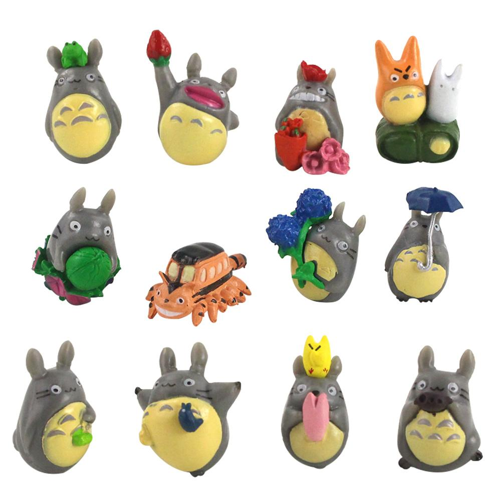 12PCS / 설정 이웃집 토토로 그림 선물 수지 소형 인형 인형 장난감 PVC plactic 일본어 귀여운 애니메이션