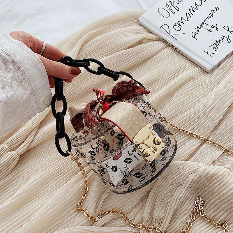 Summer Fashion New Transparent Mini Tote Bags For Women Luxury Handbags Chain Scarves Design Hand Bag Lady Small Cute Handbags