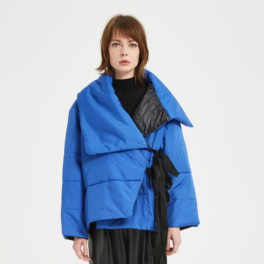 Winter Jacket Women Stand Collar Solid Female blue Down Coat Loose Oversized Womens Short Parka Jacket Parkas Mujer Women 201125