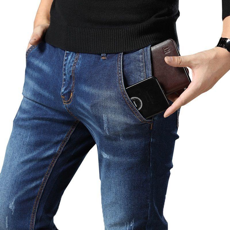 Mens Regular Fit Jeans Clothing Plus Male Autumn Elastic Stretch Denim Straight Leg Classic Cowboy Pants Big Size 40 42 44 46 48