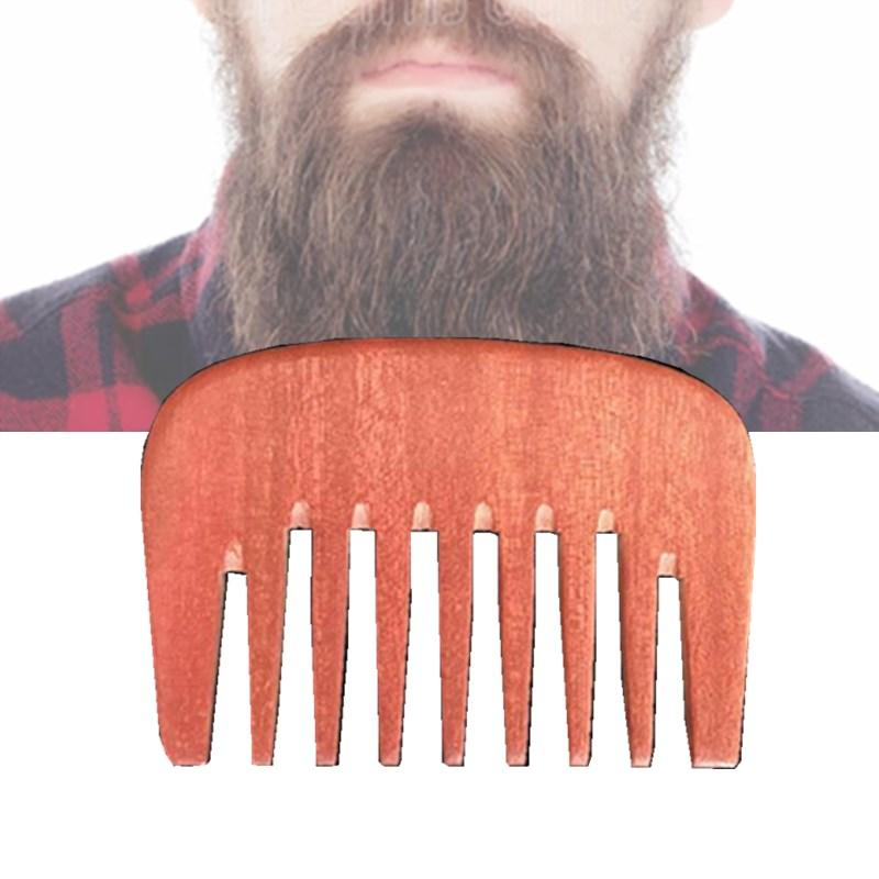 10pcs/lot Fashion New Pocket Hair & Beard Comb Amodong Wood Wide Tooth Hair Care Styling Tool Anti Static Women Wig Clean Free Shipping