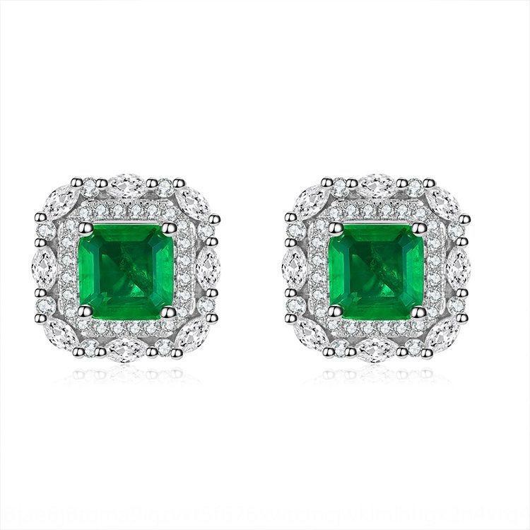 YRFVn Caibao com artificial Emerald Praça 6 * 6 com lowdiamond verdes diamantes e brincos para as mulheres