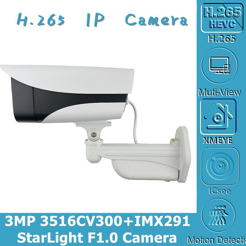 F1.0 Lens Starlight 3MP 2048 * 1536 Sony IMX291 + 3516CV300 IP Kamera IP66 Tüm Renk Açık IP66 su geçirmez ONVIF Düşük aydınlatma
