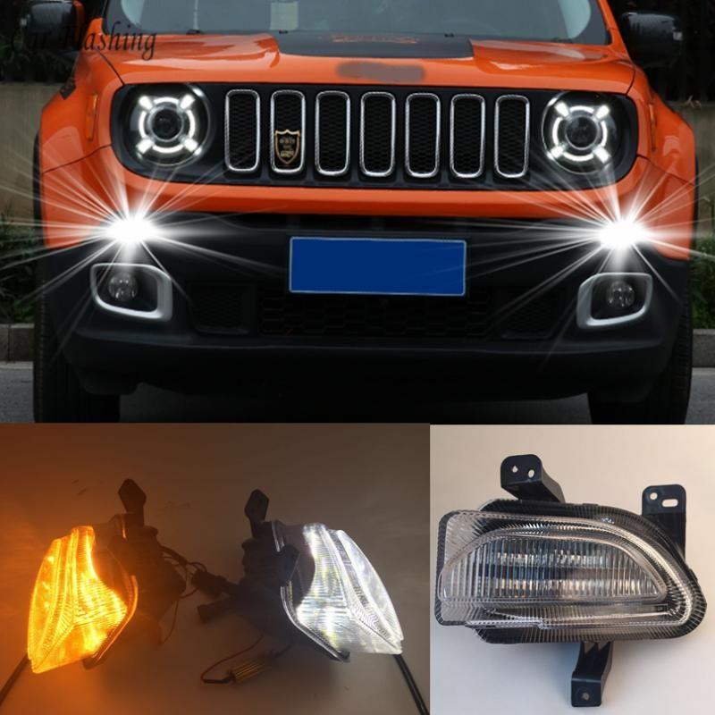 Car Flashing 1pair para 2020 2020 LED DRL Daytime Running luz Daylight amarelo Signal lâmpada do carro-Styling
