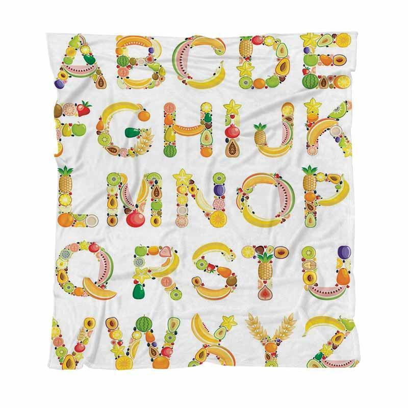 Inicio alfabeto Manta Moda letra impresa Mantas, fruta, alfabeto, todas las estaciones de la franela manta perfecta para sofá cama o cama