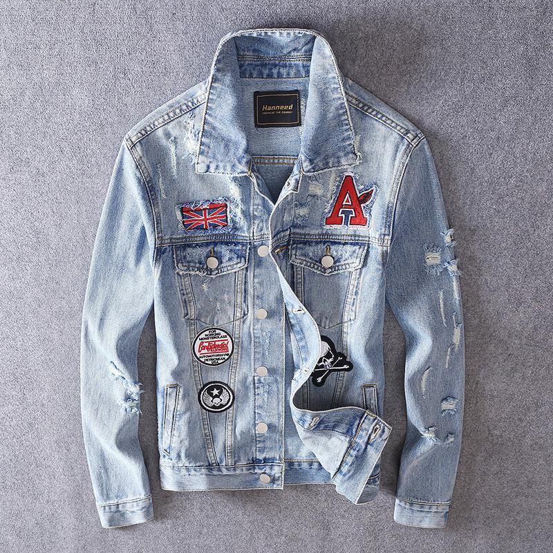 Autumn fashion brand men's denim jacket street hole beggar micro-seal jacket Korean fashion slim clothes
