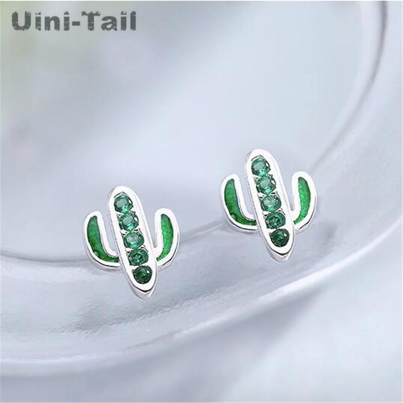 Uini-Tail 2020 нового список 925 серебра небольшого свежего лица тонкого кактус микро-набор серьги изысканного компактного высокого качества