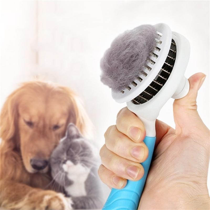 Self Cleaning rimozione dei capelli spargimento pettine dell'animale domestico del gatto del cane grooming Slicker pennello strumento Brosse chien