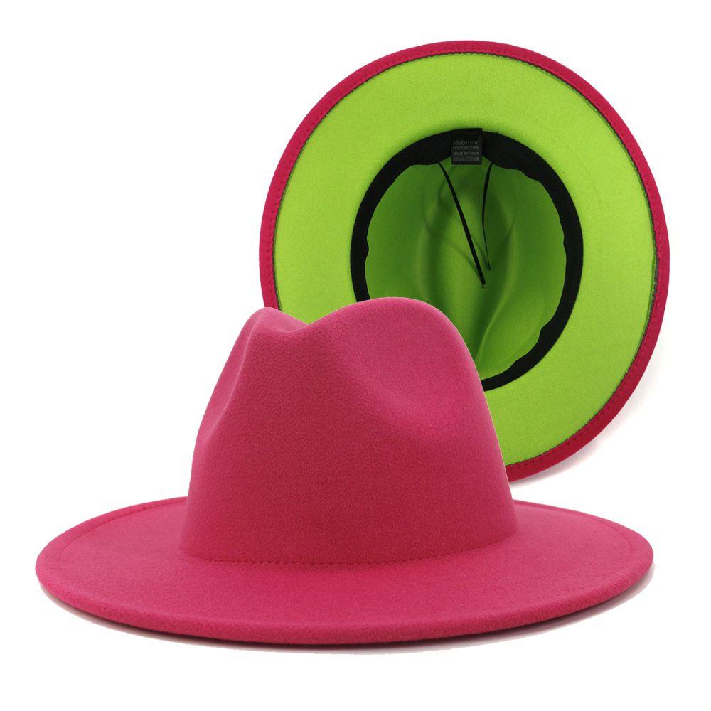Pink und Lindgrün Patchwork Wollfilz Fedorahüte Frauen Große Krempe Panama Trilby-Jazz-Kappe Derby Hut Sombrero Mujer