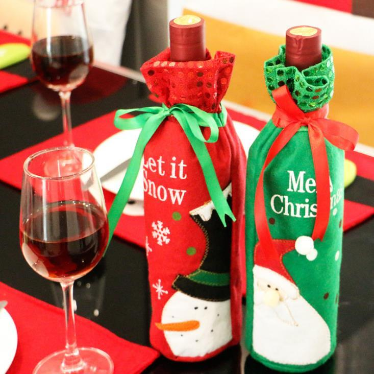 Hot Sale Christmas Decorations Santa Claus Bottle Sets Christmas Bottle Sets Sequins Red wine Sets Christmas Wine Bag Ornaments