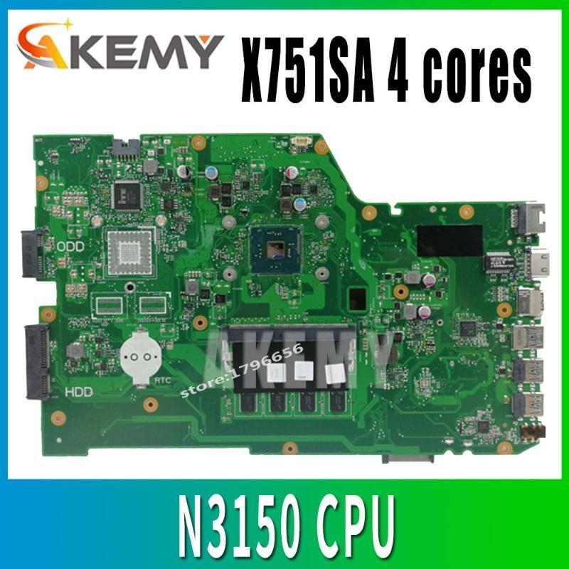 X751SA 4 cœurs N3150 CPU 4 Go de RAM carte mère d'ordinateur portable pour ASUS X751S X751SJ X751SV Testée Livraison gratuite carte principale de travail
