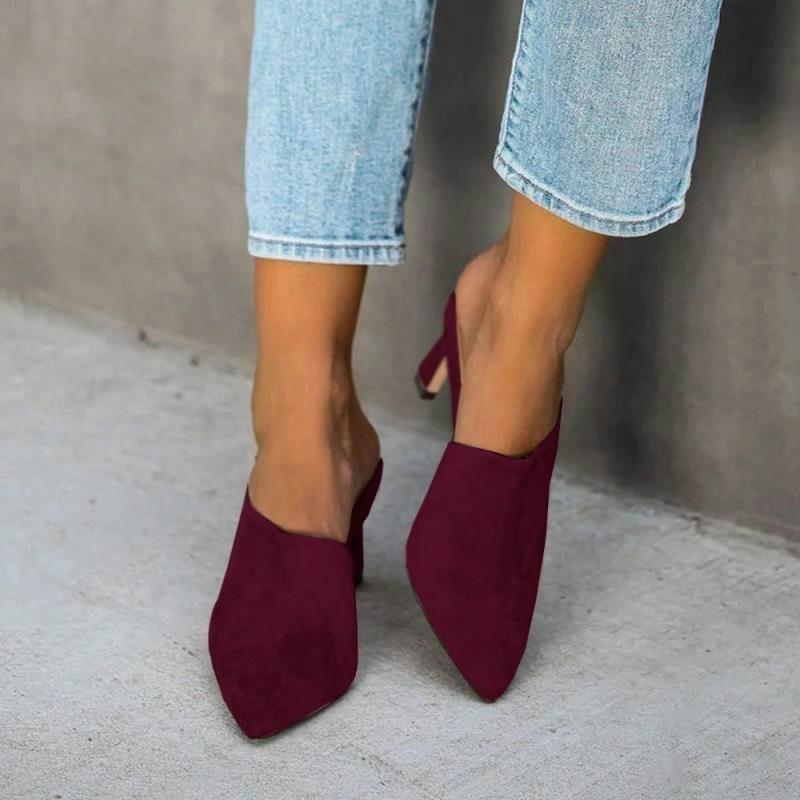 2020 neue Sommer-Frauen Sandalen Fashion Slip on High Heels Wildleder Feine Ferse-beiläufige im Freien Strand Frauen Sandalen Schuhe
