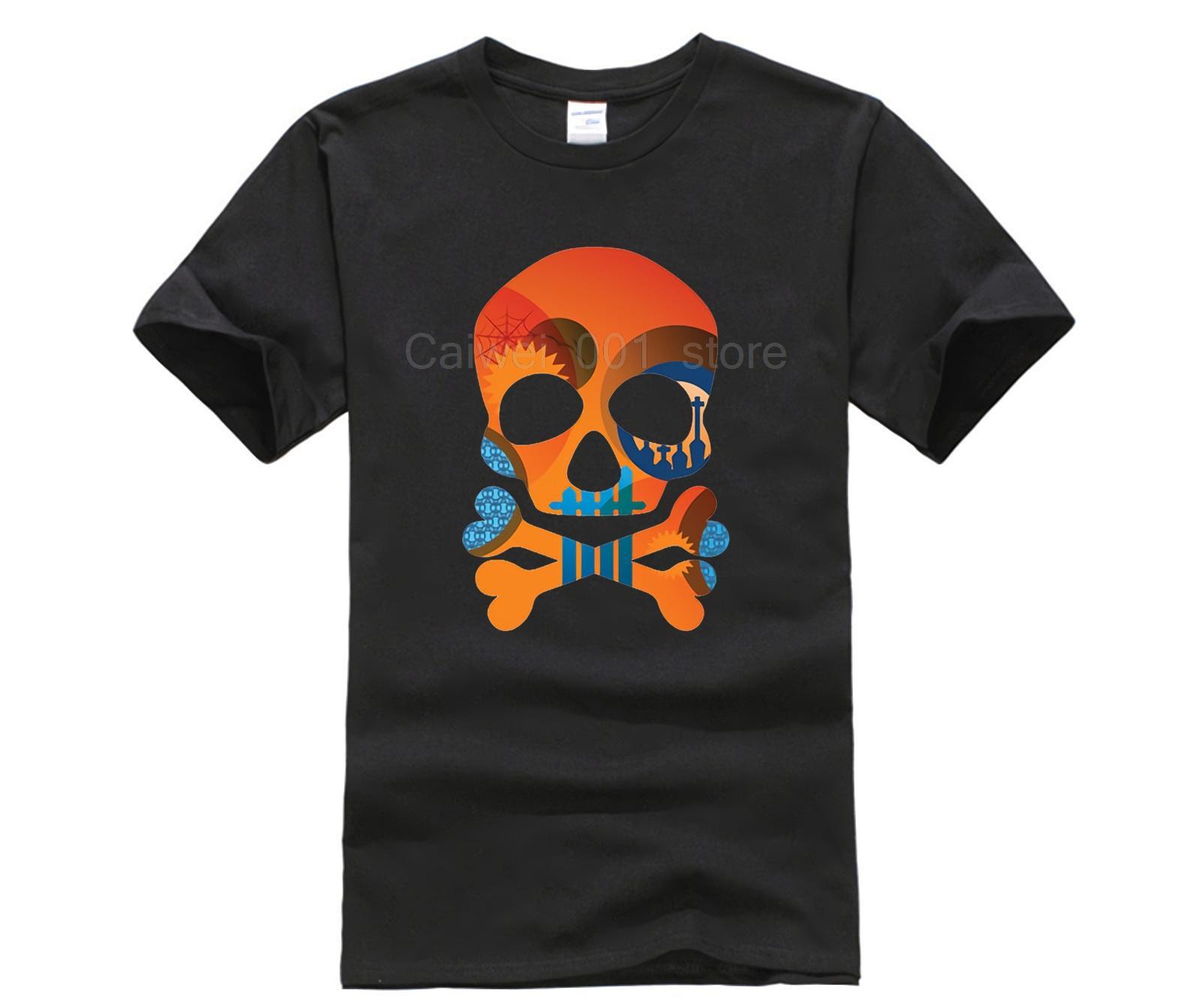 Спорт мужской футболки Красочные черепа печати метанию Личность с коротким рукавом Топы Хлопок моды 2019 тенденции тенниску