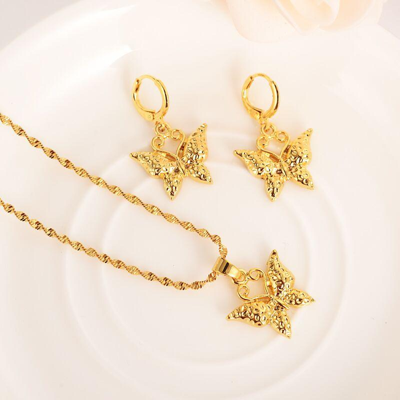 cute butterfly 9 k Solid G/F gold Jewelry sets husband or wife Wedding pendant Necklace Earrings Jewelry Sets necklace earring s