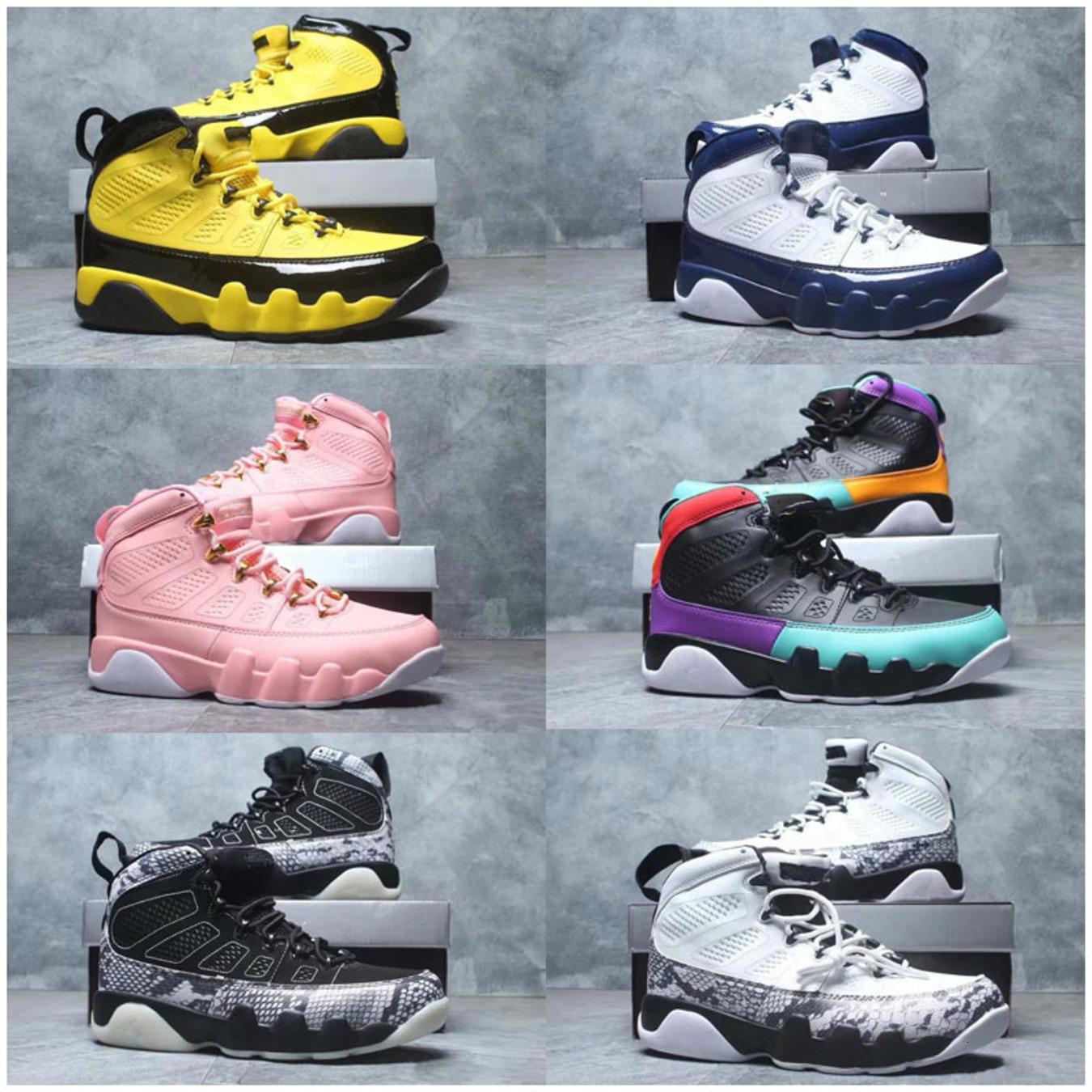 Jumpman 9 Ayakkabı 9s Çocuk Basket Ayakkabısı UNC Navy Blue Dream It Do It LA Oreo Tur Sarı Erkek Eğitmen Spor Sneaker Bred