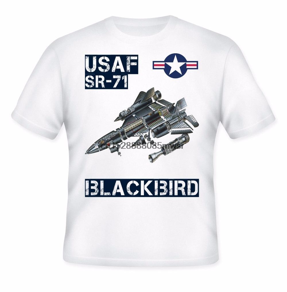 Novità del 2019 nuovi uomini di modo del cotone di disegno maschio Tee Shirt Progettazione Usaf Sr-71 Blackbird 100% camice di cotone per l'uomo