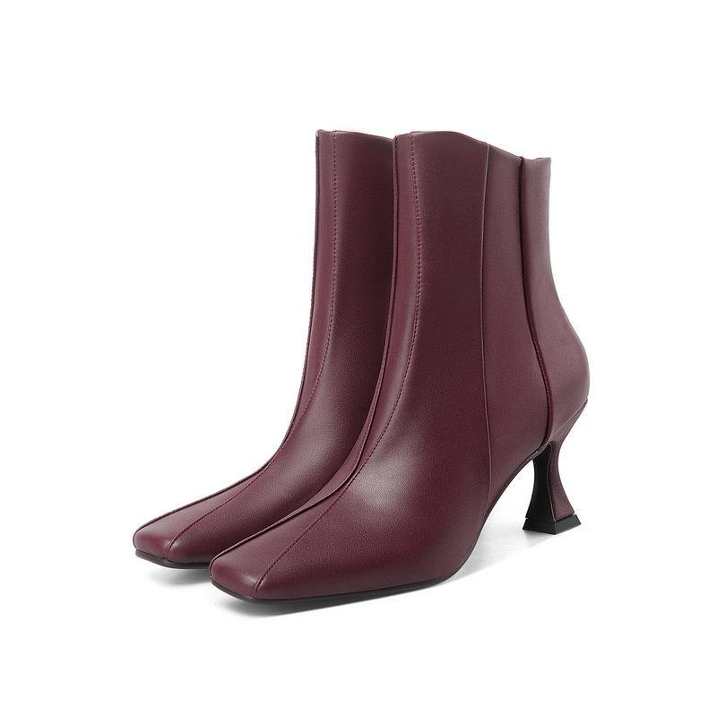 Botas moda tacones altos elegantes tobillo cuadrado punta lateral cremallera zapatos de trabajo de boda mujer invierno otoño