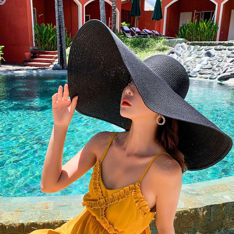 25CM واسعة بريم المتضخم شاطئ قبعات للنساء الصيف كبيرة القبعة القشية حماية من الأشعة فوق طوي الشمس الظل قبعة الجملة دروبشيبينغ