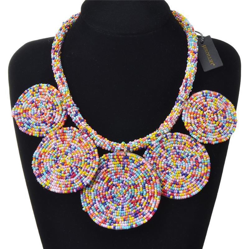 7 colores Beads Declaración collar trenzado geométrica Chunky babero collar colgante collares para las mujeres joyería y accesorios