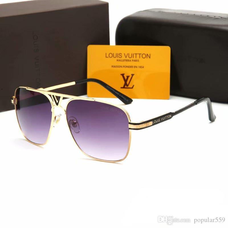 2019 Новая мода солнцезащитные очки французский бренд для мужчин и женщин, большой квадратный металлический каркас письмо стиль солнцезащитные очки PC HD объектив вождения Eyewear P01