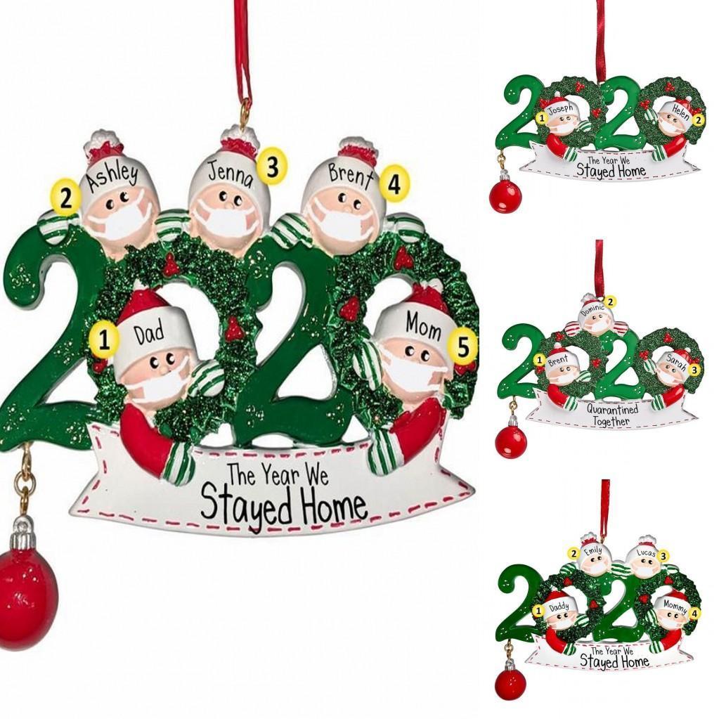 DHL entrega rápida 2020 Venta caliente DIY Cuarentena Decoración de Navidad Regalo Familia personalizada de 4 pandémicas de adornos con máscara facial FY4278