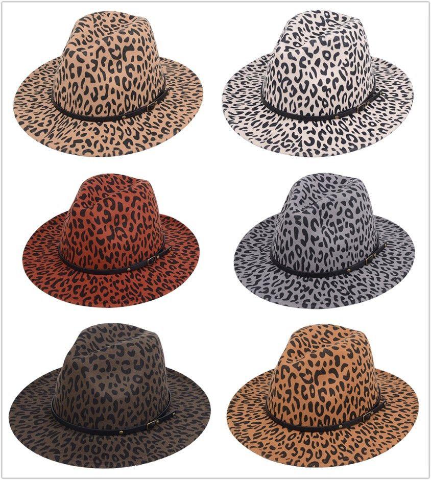 NUOVO leopardo cappello di stampa Jazz Moda feltro cappello degli uomini donne del bordo piatto vasta tesa cappello paio di cappelli Panama Cappellini 6 colori
