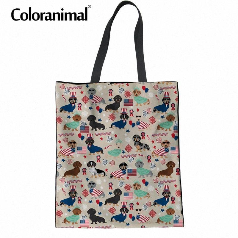 Coloranimal Multi Function Femmes Long sac pliable réutilisable Casual sac en toile 3D chiot de chien de teckel Imprimer Femmes sac en tissu HuSp #