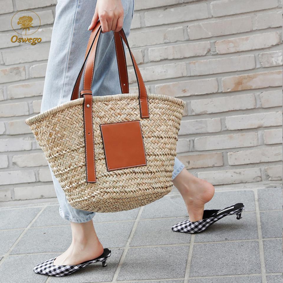2020 Moda Oswego Brand Straw Bolso de paja Bolsa de paja tejida de gran capacidad Viaje de verano Compras Bohemia Ratán Hombro Bolsa de playa Mujeres 2019