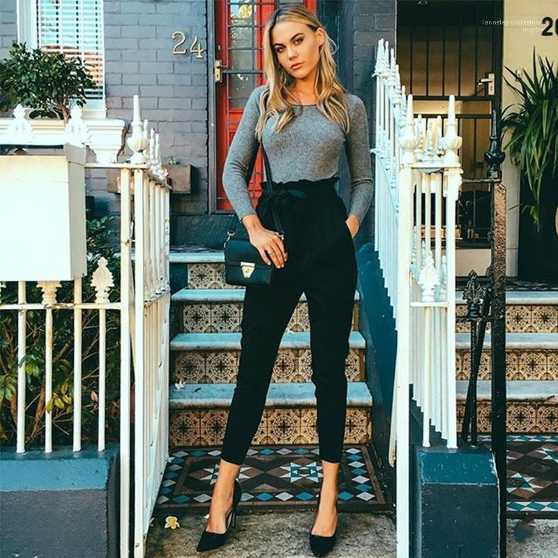 Elastische Taille Pantalon beiläufige Frauen Bunte Hosen Designer Womens-Bleistift-Hosen mit Gürtel Mode Rüschen Kordelzug