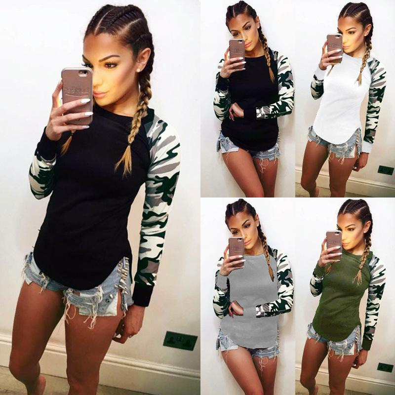 Automne manches longues Patchwork femmes Imprimer T-shirt O-cou camouflage T-shirt Taille Plus 5XL Top Tee 2017 Femme Vêtements décontractés nx