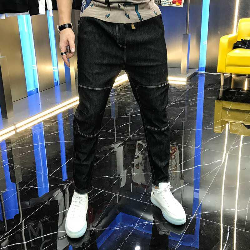 2020 men's autumn new elastic versatile fashion pocket letter offset binding waist casual handsome personality jeans trendy man