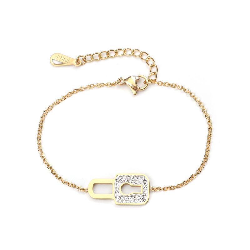 Corrente de aço inoxidável Nova Pulseiras Key Lock Cubic Zirconia ouro Moda Mulheres Bracelet Jóias Presentes 16.5cm Longo, 1 PC